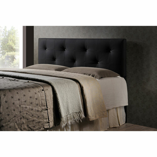 Baxton Studio Dalini Modern and Contemporary King Black Faux Leather Headboard with Faux Crystal Buttons