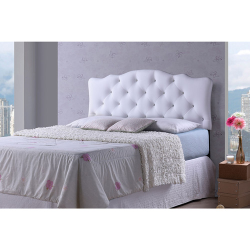 Baxton Studio Rita Modern and Contemporary Full Size White Faux Leather Upholstered Button-tufted Scalloped Headboard