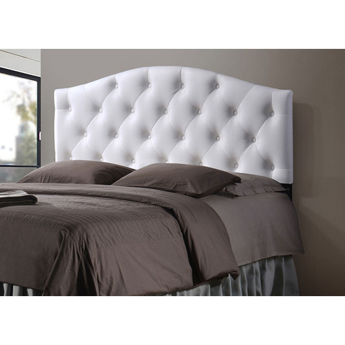 Baxton Studio Myra Modern and Contemporary Queen Size White Faux Leather Upholstered Button-tufted Scalloped Headboard