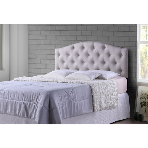 Baxton Studio Myra Modern and Contemporary Queen Size Light Beige Fabric Upholstered Button-tufted Scalloped Headboard