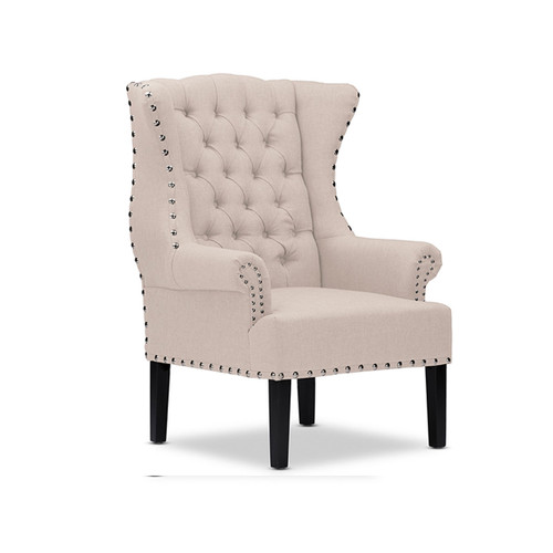 Baxton Studio Knuckey French Country Beige Linen Nail Head Wing Back Armchair