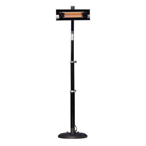 Black Powder Coated Steel Telescoping Offset Pole Mounted Infrared Patio Heater  - Electric - 1500W