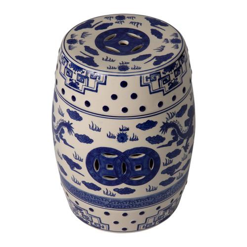 Small Double Medallion Dragon Ceramic Garden Stool-  Blue and White