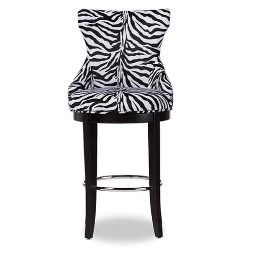 Baxton Studio Peace Modern and Contemporary Zebra-print Patterned Fabric Upholstered Bar Stool with Metal Footrest