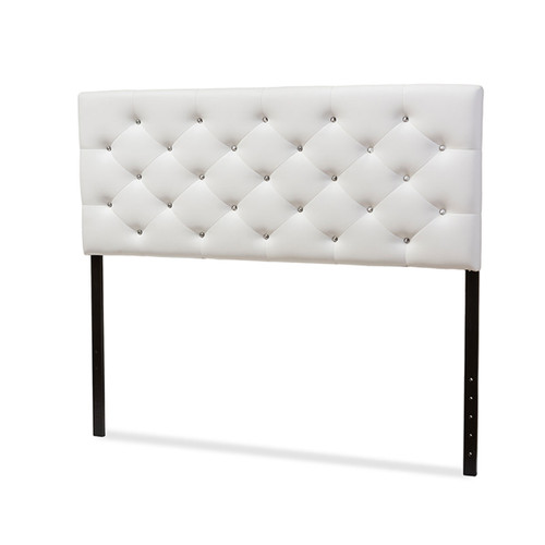 Baxton Studio Viviana Modern and Contemporary White Faux Leather Upholstered Button-tufted Full Size Headboard
