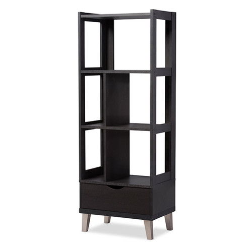 Baxton Studio Kalien Modern and Contemporary Dark Brown Wood Leaning Bookcase with Display Shelves and One Drawer