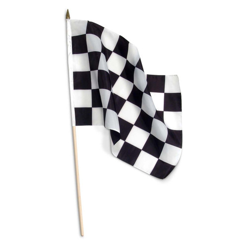 Checkered 12 x 18 inch Flag on Wooden Stick