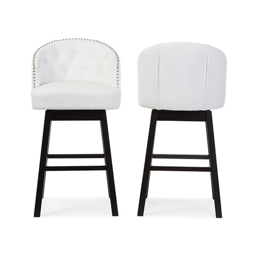 Baxton Studio Avril Modern and Contemporary White Faux Leather Tufted Swivel Barstool with Nail heads Trim (Set of 2)