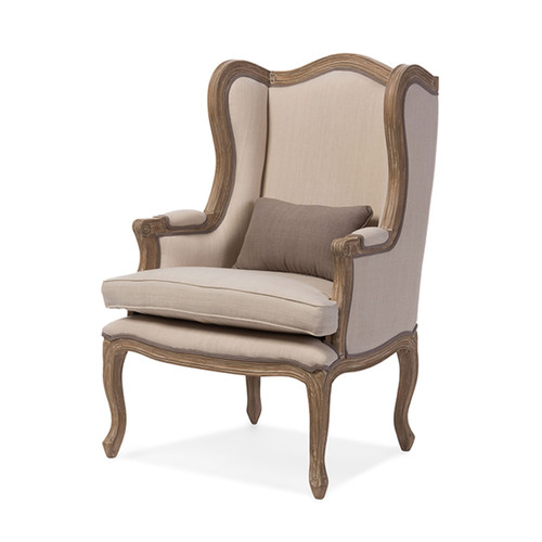 Baxton Studio Oreille French Provincial Style White Wash Distressed Two-tone Beige Upholstered Armchair