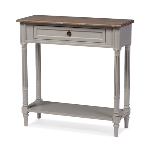 Baxton Studio Edouard French Provincial Style White Wash Distressed Wood and Grey Two-tone 1-drawer Console Table