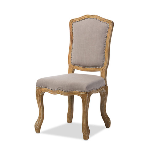 Baxton Studio Chateauneuf French Vintage Cottage Weathered Oak Beige Fabric Upholstered Dining Side Chair