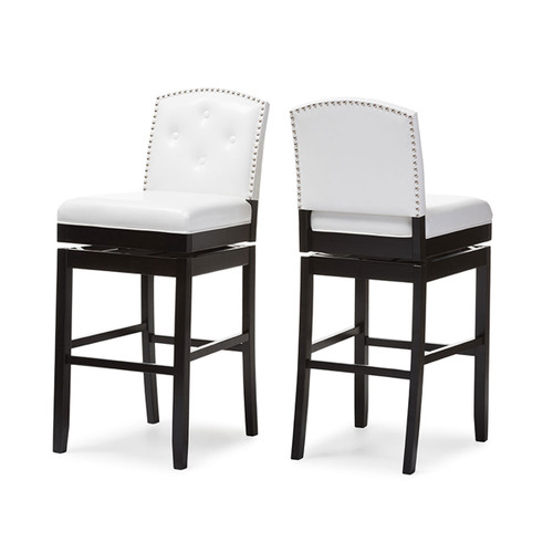 Baxton Studio Ginaro Modern and Contemporary White Faux Leather Button-tufted Upholstered Swivel Bar Stool (Set of 2)