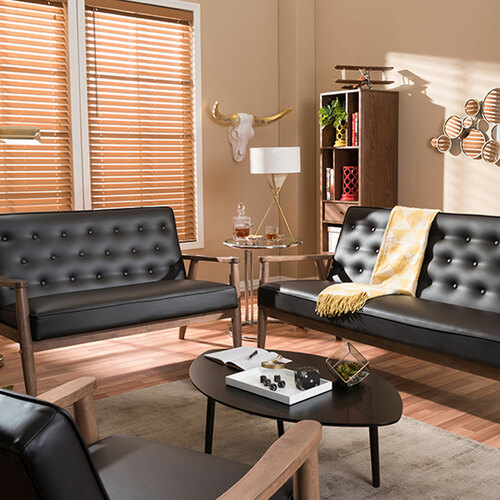Baxton Studio Sorrento Mid-Century Retro Modern Brown Faux Leather Upholstered Wooden 3 Piece Living room Set
