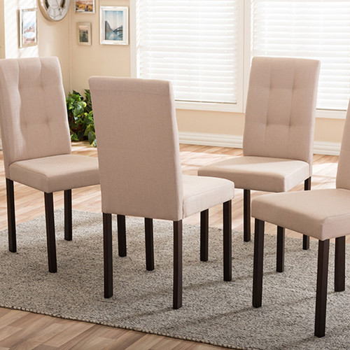Baxton Studio Andrew Modern and Contemporary Beige Fabric Upholstered Grid-tufting Dining Chair (Set of 4)