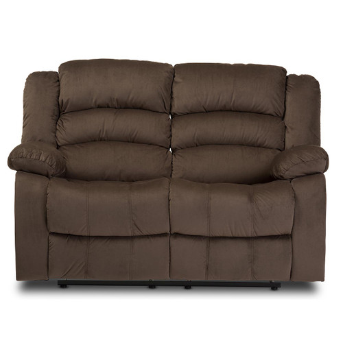 Baxton Studio Hollace Modern and Contemporary Taupe Microsuede 2-Seater Recliner