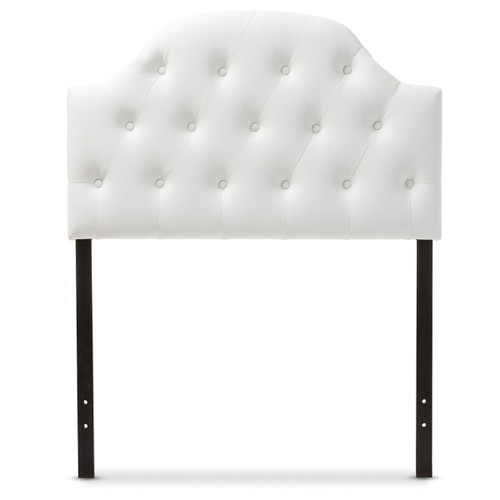 Baxton Studio Morris Modern and Contemporary White Faux Leather Upholstered Button-Tufted Scalloped Twin Size Headboard