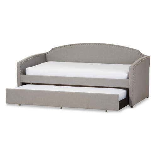 Baxton Studio Lanny Modern and Contemporary Grey Fabric Nail Heads Trimmed Arched Back Sofa Twin Daybed with Roll-Out Trundle Guest Bed