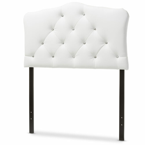 Baxton Studio Rita Modern and Contemporary White Faux Leather Upholstered Button-Tufted  Twin Size Headboard