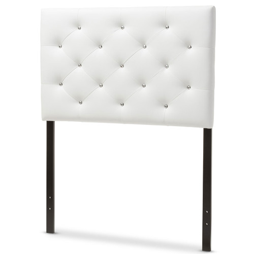 Baxton Studio Viviana Modern and Contemporary White Faux Leather Upholstered Button-Tufted Twin Size Headboard