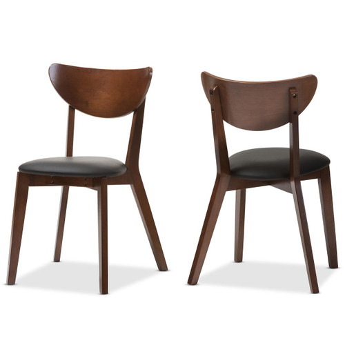 Baxton Studio Sumner Mid-Century Black Faux Leather and Walnut Brown Dining Chair