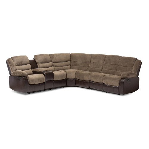 Baxton Studio Robinson Modern and Contemporary Taupe Fabric and Brown Faux Leather Two-Tone Sectional Sofa