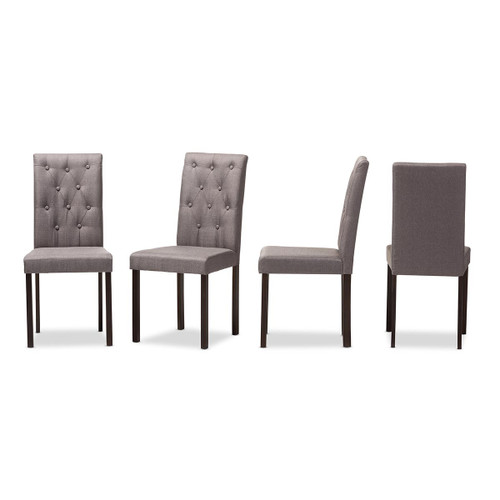 Baxton Studio Gardner Modern and Contemporary Dark Brown Finished Grey Fabric Upholstered Dining Chair (Set of 4)