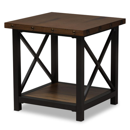 Baxton Studio Herzen Rustic Industrial Style Antique Black Textured Finished Metal Distressed Wood Occasional End Table