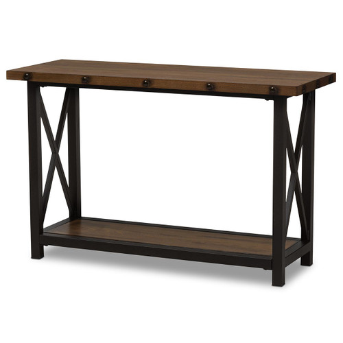 Baxton Studio Herzen Rustic Industrial Style Antique Black Textured Finished Metal Distressed Wood Occasional Console Table