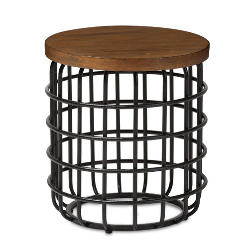 Baxton Studio Carie Rustic Industrial Style Antique Black Textured Finished Metal Distressed Wood Accent Table