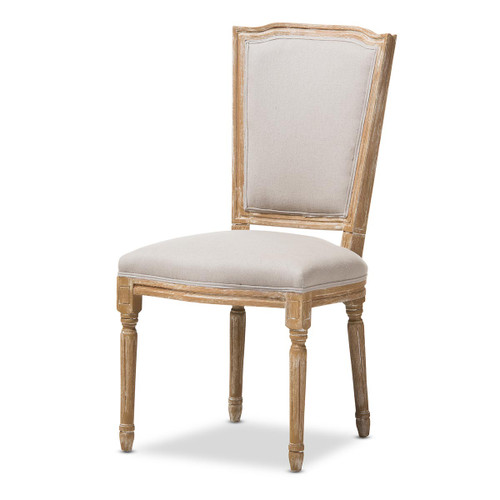 Baxton Studio Cadencia French Vintage Cottage Weathered Oak Finish Wood and Beige Fabric Upholstered Dining Side Chair