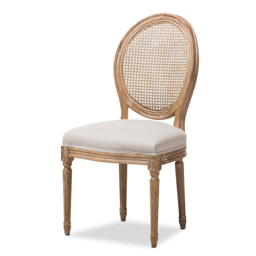 Baxton Studio Adelia French Vintage Cottage Weathered Oak Finish Wood and Beige Fabric Upholstered Dining Side Chair with Round Cane Back