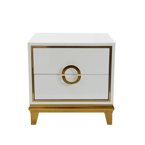 Modern White Bedroom Nightstand with 2 Drawers - Gold Accents