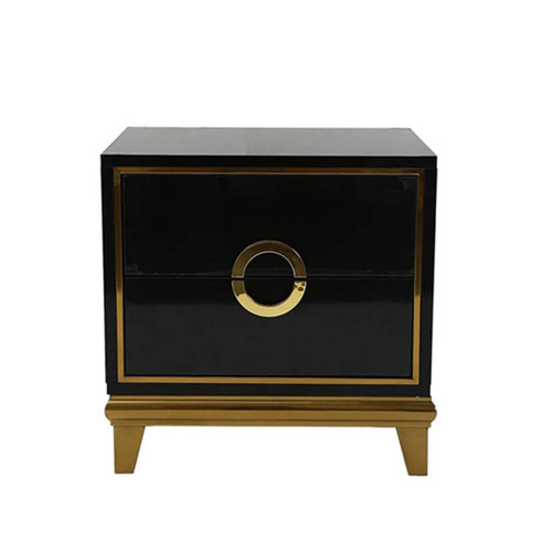 Modern Black Bedroom Nightstand with 2 Drawers - Gold Accents
