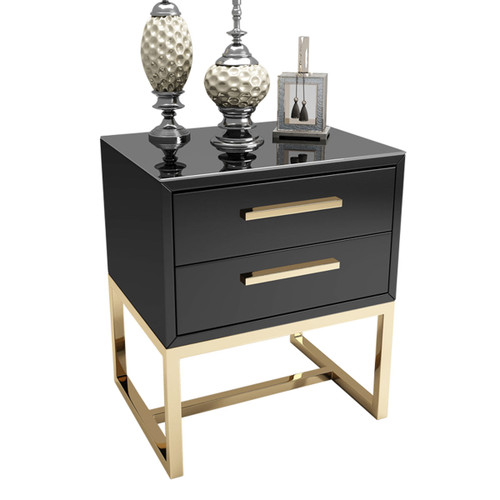 Modern Rectangular Black Bedroom Nightstand with 2 Drawers - Gold Accents