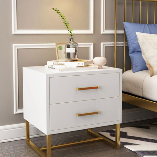 Modern Rectangular White Bedroom Nightstand with 2 Drawers - Gold Accents