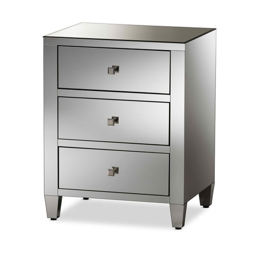 Baxton Studio Rosalind Hollywood Regency Glamour Style Mirrored 3-Drawer Nightstand (Set of 2)