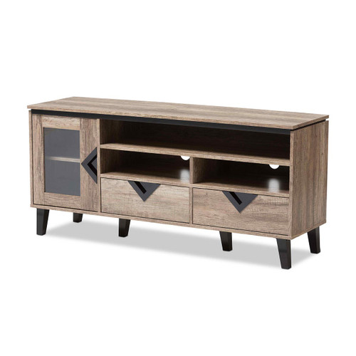 Baxton Studio Cardiff Modern and Contemporary Light Brown Wood 55-Inch TV Stand