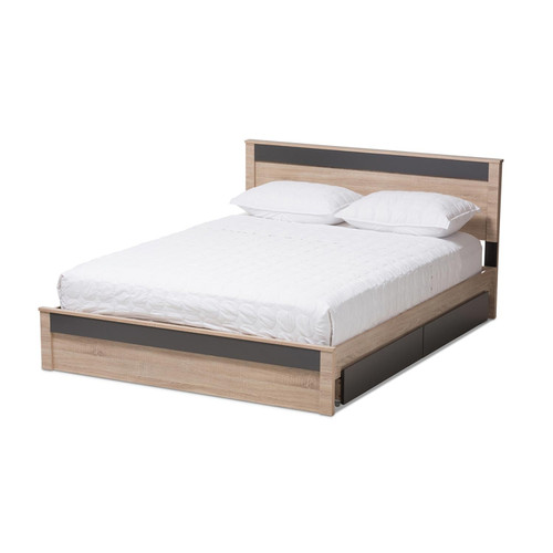 Baxton Studio Jamie Modern and Contemporary Two-Tone Oak and Grey Wood Queen 2-Drawer Queen Size Storage Platform Bed
