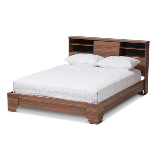 Baxton Studio Vanda Modern and Contemporary Two-Tone Walnut and Black Wood Queen Size Platform Bed