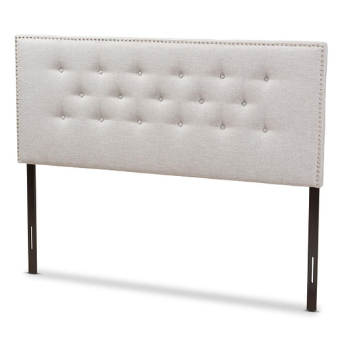 Baxton Studio Windsor Modern and Contemporary Greyish Beige Fabric Upholstered King Size Headboard