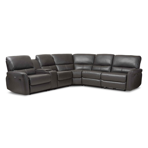 Baxton Studio Amaris Modern and Contemporary Grey Bonded Leather 5-Piece Power Reclining Sectional Sofa with USB Ports