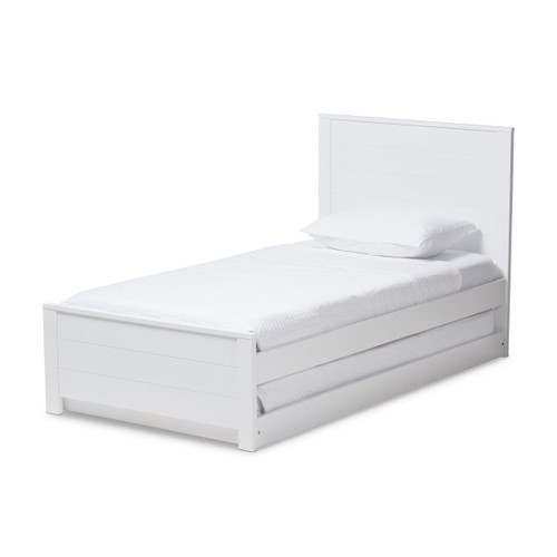 Baxton Studio Catalina Modern Classic Mission Style White-Finished Wood Twin Platform Bed with Trundle