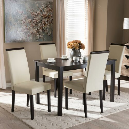 Baxton Studio Daveney Modern and Contemporary Cream Faux Leather Upholstered 5-Piece Dining Set