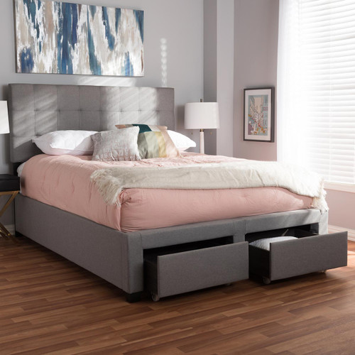 Baxton Studio Tibault Modern and Contemporary Grey Fabric Upholstered Queen Size Storage Bed