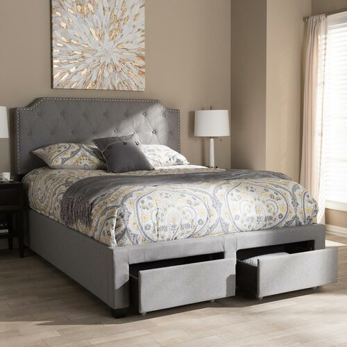 Baxton Studio Aubrianne Modern and Contemporary Grey Fabric Upholstered King Size Storage Bed