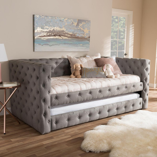 Baxton Studio Janie Classic And Contemporary Grey Fabric Upholstered Daybed With Trundle