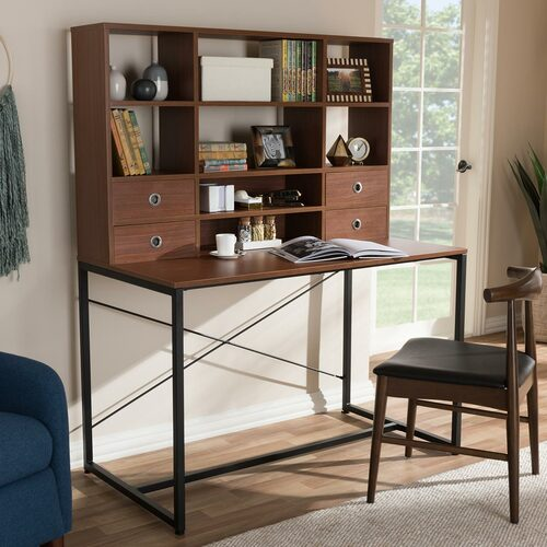 Baxton Studio Edwin Rustic Industrial Style Brown Wood and Metal 2-in-1 Bookcase Writing Desk