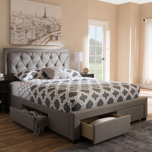Baxton Studio Aurelie Modern and Contemporary Light Grey Fabric Upholstered King Size Storage Bed