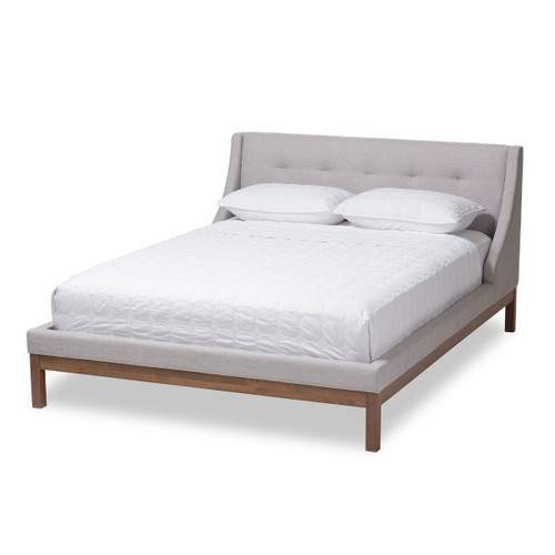 Baxton Studio Louvain Modern and Contemporary Greyish Beige Fabric Upholstered Walnut-Finished Queen Sized Platform Bed