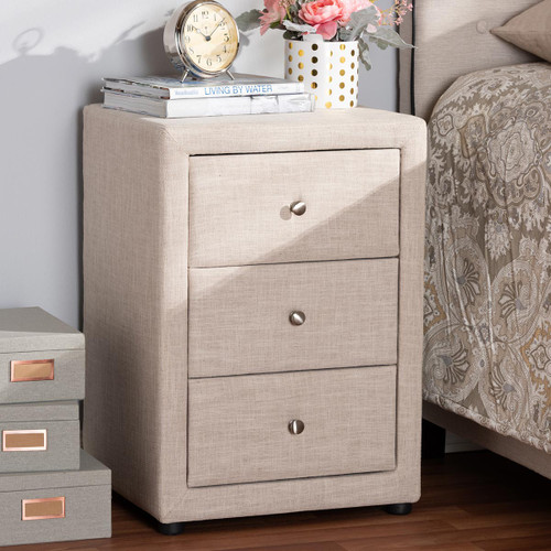 Baxton Studio Tessa Modern and Contemporary Beige Fabric Upholstered 3-Drawer Nightstand
